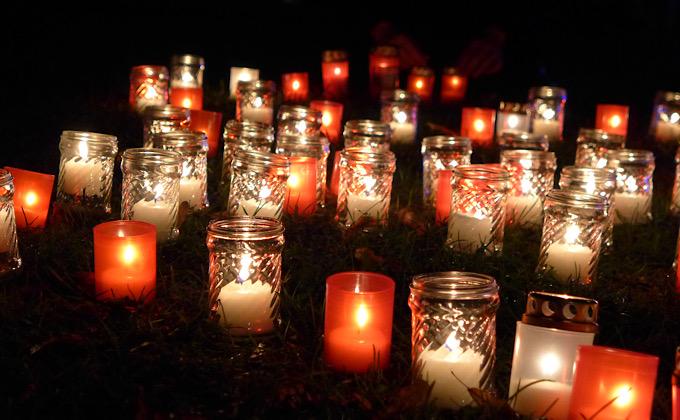 赤と白の蝋燭